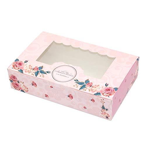 hachtel, faltbare Geschenkbox, süße Süßigkeiten Rose Party Hochzeit mit Fenster Cookies Papier für Geburtstagsfeier Hochzeitstag Dekorationen(S) ()