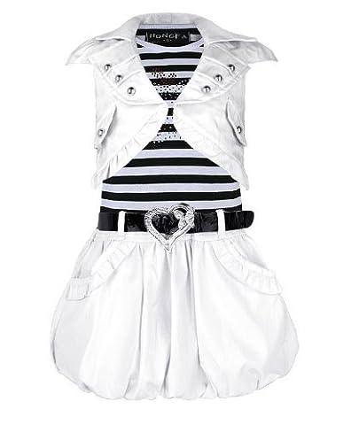 Filles Avec Ceinture Robe Sans Manches & Veste Doudoune Jupe Diamant Apple Modèle - Blanc, 3-4 ans