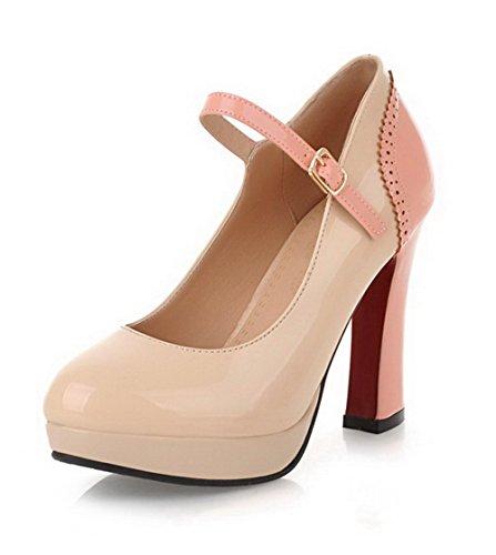 VogueZone009 Damen Rund Zehe Schnalle Lackleder Hoher Absatz Pumps Schuhe Aprikosen Farbe