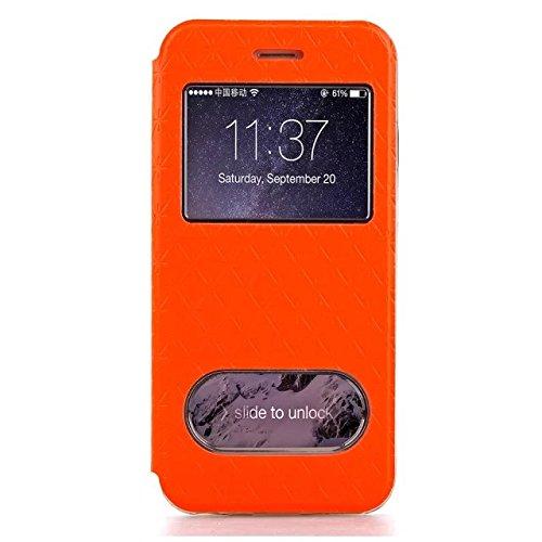 iPhone Case Cover IPhone 6 6s Plus Case, carré de diamant motif en treillis PU Leather Window Case Soft TPU Housse de stand avec slot pour carte IPhone 6 6s Plus ( Color : Orange , Size : Iphone 6S Pl Orange
