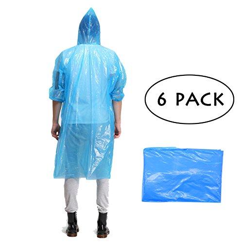 Maveek 2Pack leggero per adulti emergenza impermeabile con cappuccio Poncho da pioggia USA e getta (Leggero Pioggia Poncho)