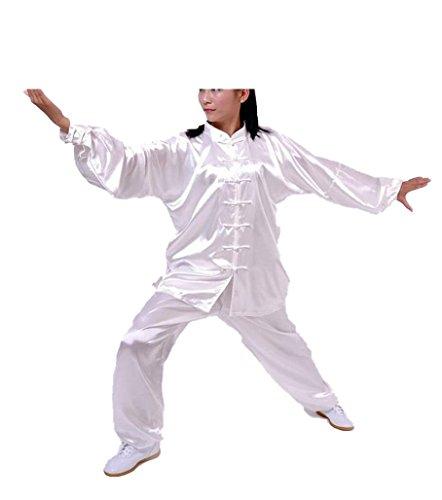 CHLXI Hochwertige Baumwolle Plus Seide Tai Chi Kleidung Praxis Kleidung Training Wu Anzug Kragen Langarm-Übung Kleidung Männer und Frauen Morgen Übung Kleidung (Männer übung Kleidung)