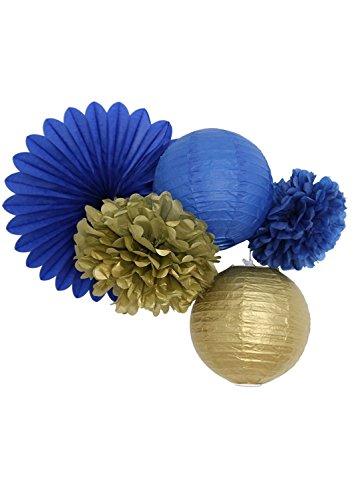 5er Pompoms blau navy blue Series Navy 5 Stück Pompons aus Seidenpapier paperfan Gold Papier Laternen Gold Seidenpapier Pompons und Marine Blau Papier Laternen Papierblumen Dekoration