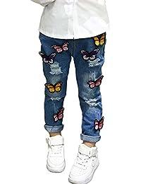 BOBORA Bebes Ninas Hole Jeans Mariposa Pantalones De Mezclilla Para 2-7 Anos De Edad