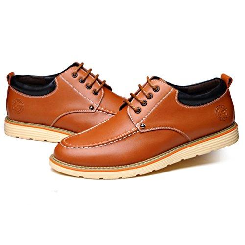 Printemps en Cuir Souple Loisirs Chaussure Homme Chaussure à Lacet pour Travail Bout Rond Smelle Souple Jaune