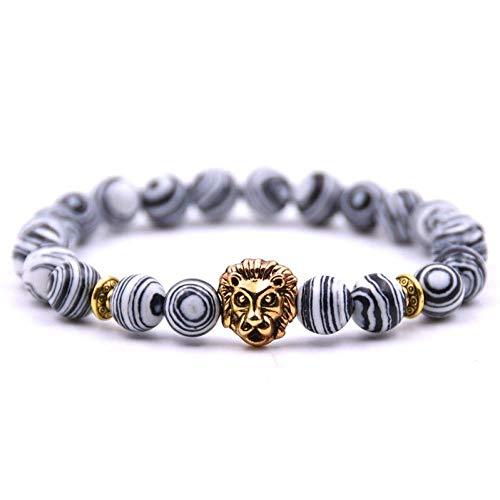 uck Geschenk,Fashion Jewelry Gold Buddha Leo Lion Head Bracelet Black Lava Stone Beaded Bracelets for Men Women ()