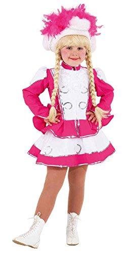 O671-140 Kinder-Mädchen Funkenkostüm pink-weiß mit Silberborte Gr.140 (Kindermädchen Kostüm)