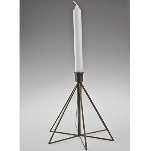 Kerzen-Ständer 'Antik', Metall, antik-messing, Glas, 19,5x18cm - Messing-glas Kerze