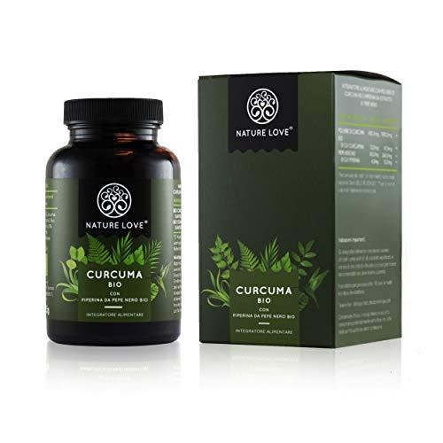 NATURE LOVE Curcuma bio - 2150 mg par dose giornaliera. 240 capsule con curcumina e piperina. Analisi di laboratorio e certificato biologico. Alto dosaggio, vegano, prodotto in Germania.