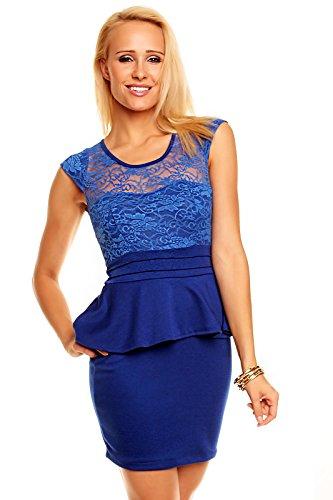 Sexy elegantes Minikleid Abendkleid Kleid mit Schößchen und Spitze Blau