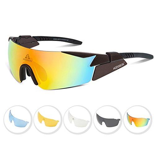HODGSON Radbrille polarisierte Sportbrille für Rad Ski-Laufen Golf mit 5 Wechselgläsern aus TR90 UV-Schutz für Herren und Damen in Braun Neu