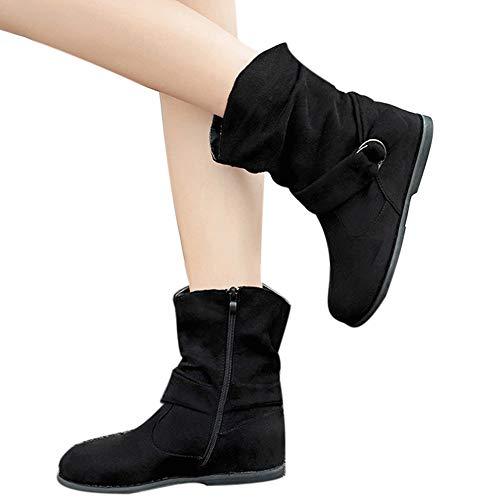 Chaussures Femmes,Sonnena Bottes Femme Vintage Style Femmes Flat Booties Chaussures Douces Ensemble De Pieds Bottines Bottes Moyen Sneakers Shoes