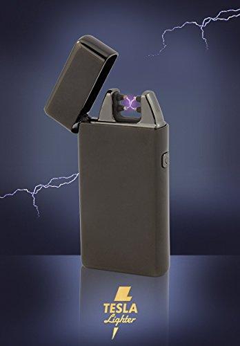 Tesla-Lighter T05 Lichtbogen Feuerzeug Plasma Double-Arc elektronisch wiederaufladbar. Aufladbar per USB mit Strom ohne Gas und Benzin. Mit Ladekabel in edler Geschenkverpackung Schwarz