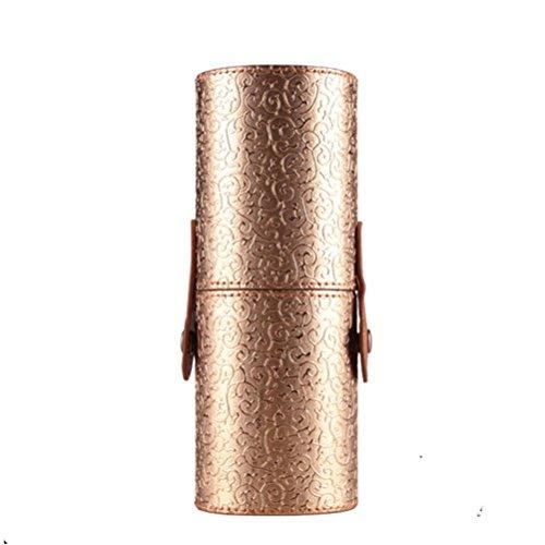 Jaminy Leder Kosmetiktasche Portable Lagerung Makeup Taschen Organizer Pinselhalter Tasse (Gold)