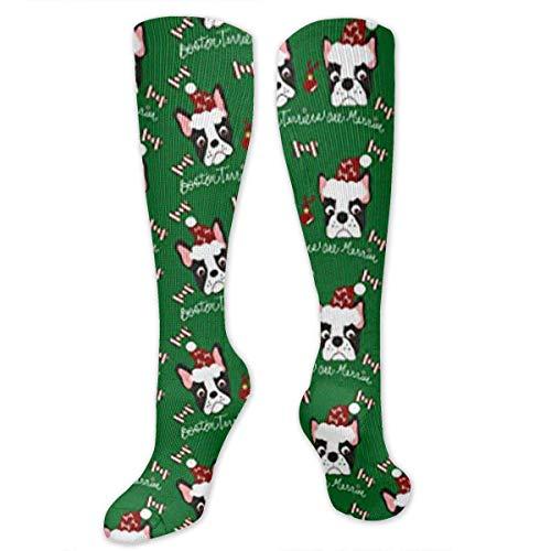 Gped Kniestrümpfe,Socken Boston Terriers Dogs Merrier Compression Socks,Knee High Socks,Funny Socks for Women Men - Best Medical,Sports,Running, Nurses,Maternity,Pregnancy,Travel & Flight Socks (Boston Terrier Kostüme)