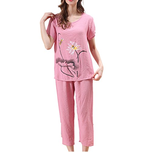 Zhhlaixing Womens Fashion Printing Short Sleeve Pyjama Suit Set Variety Colours pink