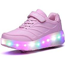 Adulto Niños Niñas LED Zapatillas con Ruedas Deporte Patín Ruedas Luminoso Flying LED con dos Rueda Adulto Intermitente Zapatos con Luces