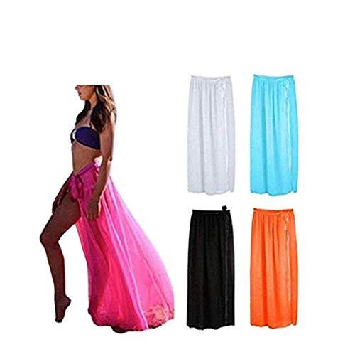 Damen Strand Multifunktions Solid vertuschen Sarong Badeanzug Smok Kleid (schwarz) -