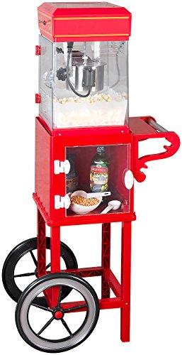 """Rosenstein & Söhne Popcorn-Maschinen Cinema: Retro-Popcorn-Maschine\""""Movie\"""" und Rollwagen im 50er-Stil, rot (Profi-Retro-Popcorn-Maschinen)"""