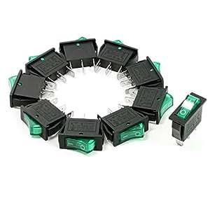 Amico 10 Pcs AC 250V 15A 125V 20A SPST Marche / Arrêt Vert Neon Light Interrupteur à bascule