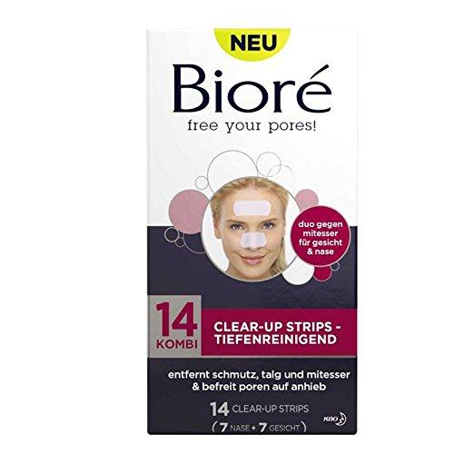 BIORÉ Kombi Clear-Up Strips - tiefenreingend 14 Strips Tiefenreinigende Reinigungspflaster für junge Haut