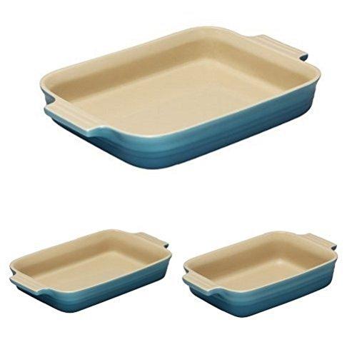 Le Creuset Stoneware Rectangular Dish Set -18, 26, 32 cm - Teal