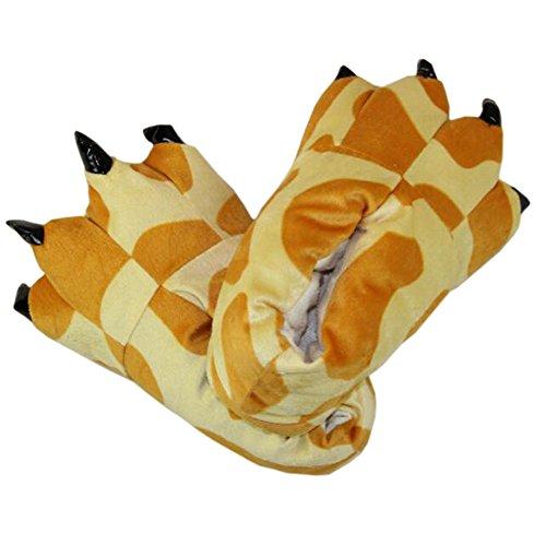 Magicmode unisex caldo morbido peluche zampa artiglio pantofole casa cosplay animal costume scarpe giraffa s