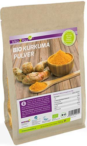 BIO Kurkuma-Pulver 750g - 100% Rohkost-Qualität im Zippbeutel - Curcuma gemahlen mit Curcumin - Premium Qualität - 100% Pulver