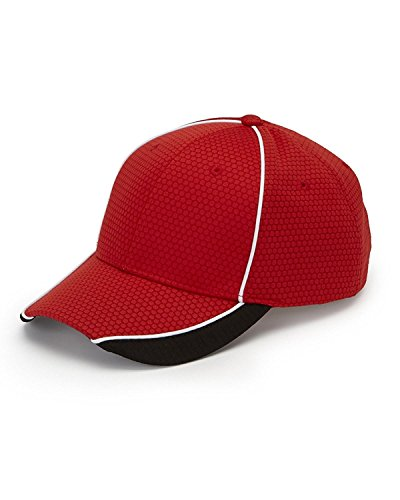 DP102 AD POLY/DOBBY WICKING CAP RED/ BLACK/ WHT OS