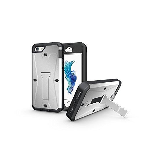 iPhone Case Cover 3 In 1 neue Rüstung Tough Style Hybrid Dual Layer Rüstung Defender PC Hartschalen mit Ständer Shockproof Fall Für IPhone 5 5S SE ( Color : Black , Size : IPhone SE 5S ) Silver