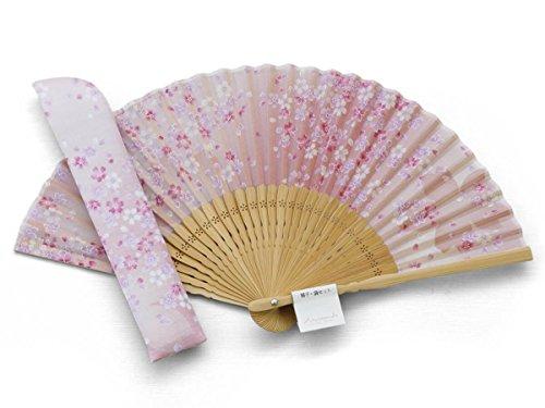 Maisendo Handfächer Sakura Fubuki Kirschblüte Rosé, Bambus Holz und Stoff, Premium-Qualität Ideal als Geschenk mit Baumwoll Etui und Geschenkbox -