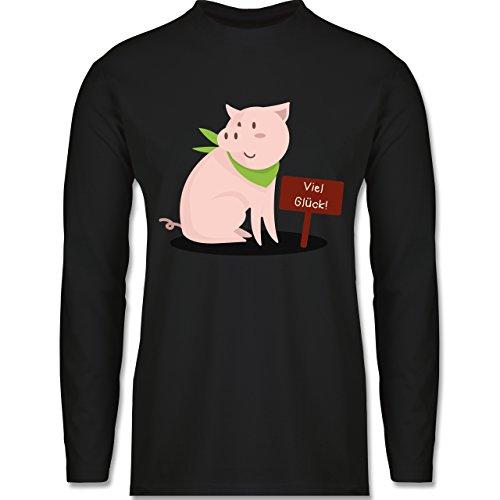 Sonstige Tiere - Glücksschweinchen - Longsleeve / langärmeliges T-Shirt für Herren Schwarz