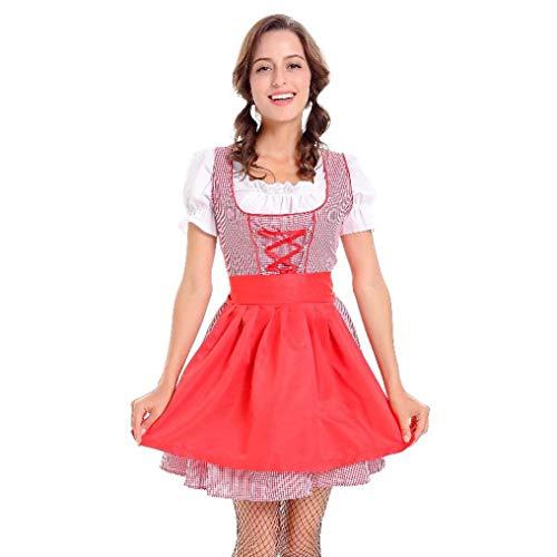 VEMOW Damen Kostüme ELegant Damen 3 Stück Dirndl Kleid Bluse Costumes rachtenkleid mit Stickerei Traditionelle bayerische Oktoberfest Karneval(Rot, - Preiswerte Sexy Kostüm