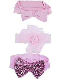 LUX accesorios rosa lazo de lentejuelas flores de pelo bebé diadema (3unidades)