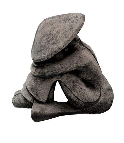 gartendekoparadies.de Massive Stein Figur chinesischer Reis Bauer Buddha Mönch aus Steinguss frostfest