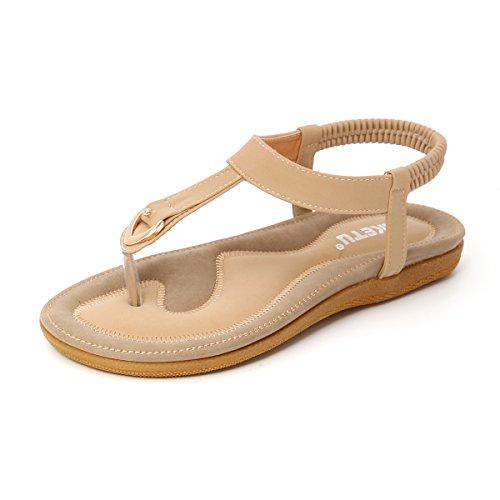 Gracosy Damen Sandalen, Flach Flip Flops Zehentrenner Strand Schuhe Offene Schuhe T-Strap Flats Böhmischer Stil Sandals (Hersteller-Größentabelle im Bild Beachten)