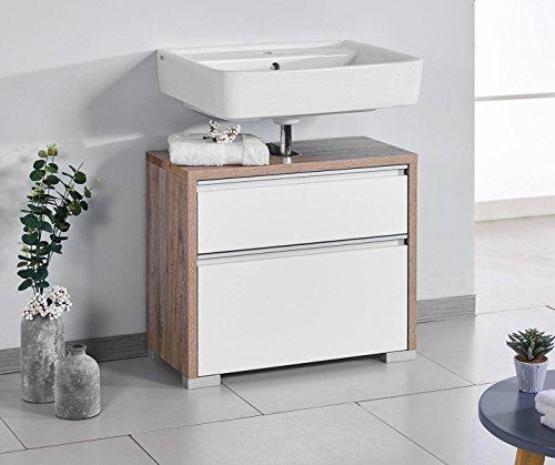 Schildmeyer Bello Waschbeckenunterschrank 138180, Wildeiche Dekor / Weiß glanz, 67 / 33 / 57 cm - 60 Waschbeckenunterschrank