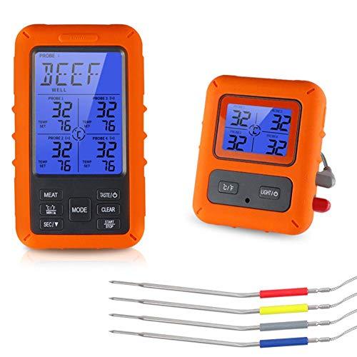 Winnerruby Termómetro De Carne Digital Remoto Inalámbrico para Cocinar Alimentos con Sonda De Temperatura...