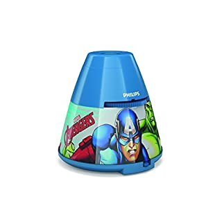 Philips Marvel Avengers Children's Night Light and Projector-1 x 0.1 W Integrated LED, Synthetics, 0.1 W, Blue