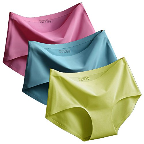 3 er Pack Damen Briefs, Lylafairy Performance Light Unterhose Bequeme Elastische Bikini-Slips (42/XL, Gelb/Hellblau/Rose rot)