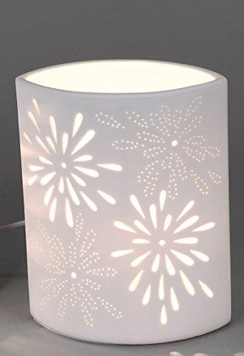 Blumen-design-tisch-lampe (Porzellanlampe oval Tisch- & Nachttischlampe mit Durchbruch im Blumen-Muster (23 x 18 x 11 cm))