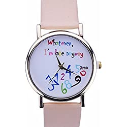 Souarts Artificial Leather Whatever I am Late Bracelet Round Dial Quartz Wrist Watch Beige