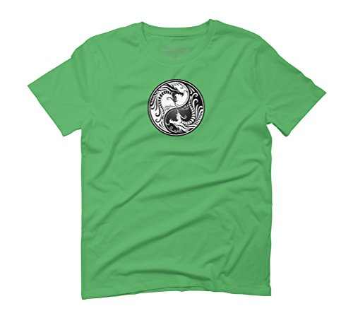 White and Black Yin Yang Dragons Men's Graphic T-Shirt - Design By Humans Green