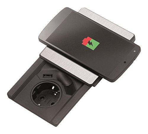 EVOline SQARE Qi 1592 7000 0700 EVOline Square Qi Einbau-Steckdose mit USB und induktiven Ladestation im Deckel, Schwarzes Gehäusedeckel In Edelstahl-Optik