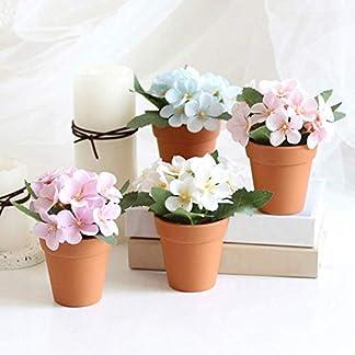 Ogquaton Begonia Artificial Planta Flor Falsa En Maceta Bonsai Fiesta Decoración de Mesa Blanco