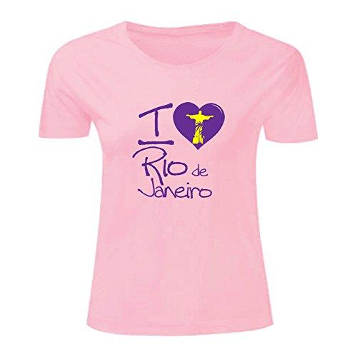 Art T-shirt, Maglietta I love Rio, Donna Rosa