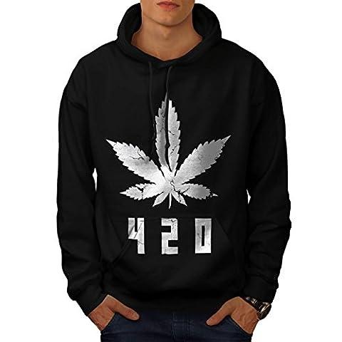 White Cannabis Leaf Men L Hoodie | Wellcoda