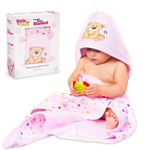 Bella&Giuly Kapuzenhandtuch, Badeponcho für Neugeborene und Babys | Kapuzenbadetuch extra sanft | Babydecke mit Kapuze | 100% Baumwolle | 90x90 cm Badetuch (Rosa) (Kapuzen-badetücher Für Baby Mädchen)