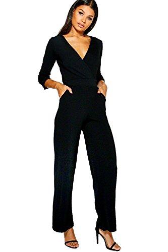 Noir Femmes Eve Combinaison Large Décontractée À Revers Aux Manches Noir