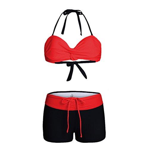 Fuyingda Damen Halter Zwei Stück Bikini Set Strand Bademode Badeanzug Hochdrücken Bandeaukini String Bikini mit Badeshorts